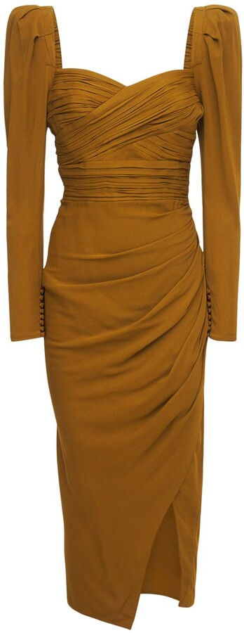 Thumbnail for your product : Self-Portrait Stretch Crepe Viscose Ruched Midi Dress