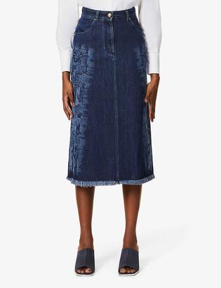 Alberta Ferretti Frayed-hem high-waist denim midi skirt