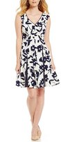 London Times Floral Fit-and-Flare Dress