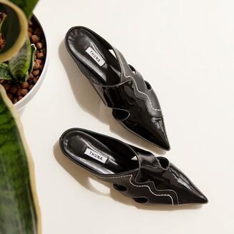THUNA - Maya Black Pointed Leather Mule Slipper