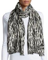 Diane von Furstenberg Kenley Seasonal-Print Cashmere Scarf, Black/White