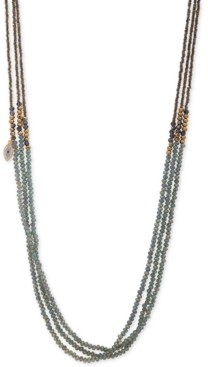 "lonna & lilly Gold-Tone Pave Evil Eye Charm Beaded 36"" Triple-Strand Necklace"