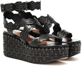 Alaia Studded leather plateau sandals