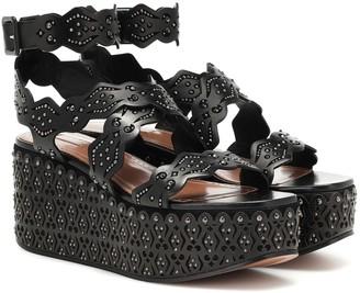 Alaia Studded leather plateau sandals