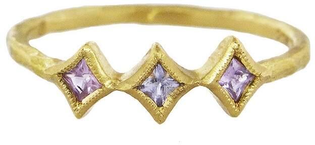 Cathy Waterman Sapphire Triple Diamond Stacking Ring
