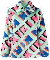 Kirin all-over logo faux-fur jacket