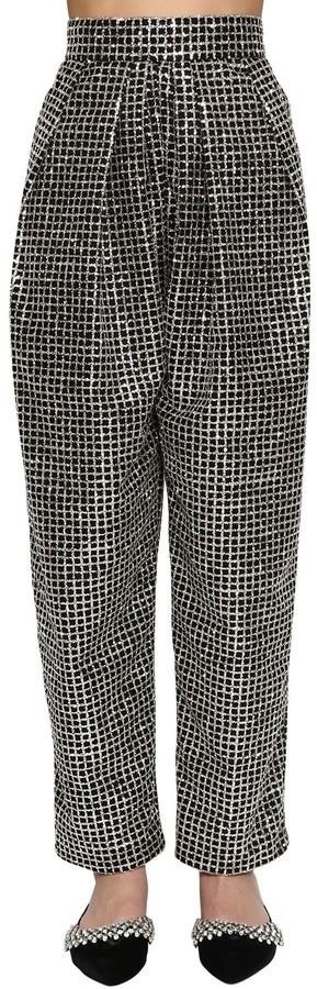Thumbnail for your product : DANIELE CARLOTTA High Waist Lurex Wide Leg Pants