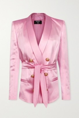 Balmain Belted Double-breasted Silk-satin Blazer - Pastel pink