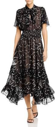 Rebecca Taylor Silk-Blend Metallic-Dot Maxi Dress