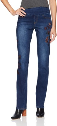 Jag Jeans Women's Peri Straight Pull on Jean with Embroidery