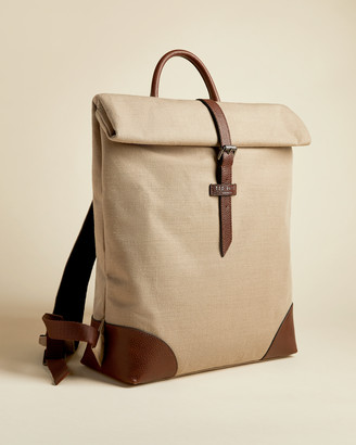 Ted Baker FEATT Jute and recycled polyester canvas backpack