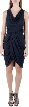 J. Mendel Navy Blue Silk Jersey Draped Waist Detail Short Dress M