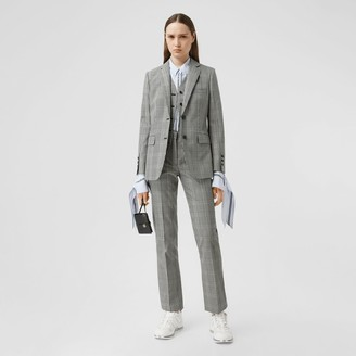 Burberry Cropped Check Technical Wool Tailored Trousers
