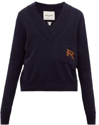 Rochas Logo-knitted Wool-blend Sweater - Mens - Blue