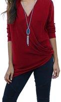 Bling Stars Women Front Cross V-Neck Long Sleeve Blouse Tee Tops T-Shirt