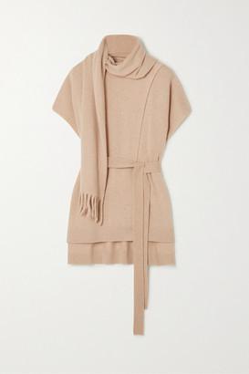 Proenza Schouler Belted Draped Cashmere Sweater - Camel