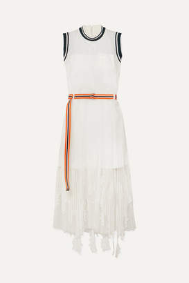Sacai Lace-trimmed Tulle And Crepe De Chine Maxi Dress - White