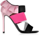 Emilio Pucci Black, White and Fuchsia Suede and Silk High Heel Sandals