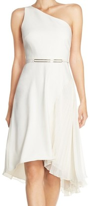 Halston Women's One Shldr Asym Dress W Pleatd Skirt Insert and BLT