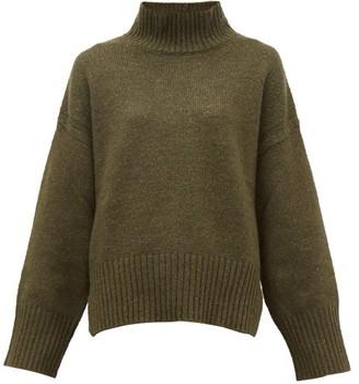 Frame Roll-neck Wool-blend Sweater - Womens - Khaki