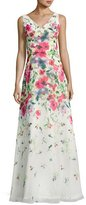 David Meister Sleeveless Floral Chiffon Gown, White/Multicolor