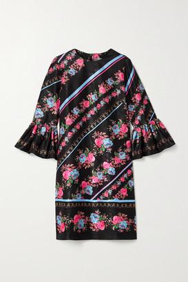 Erdem Elijah Floral-print Satin-jacquard Mini Dress - Black