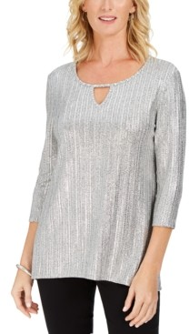 JM Collection Petite Metallic Ribbed Keyhole Top, Created for Macy's