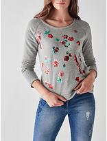 Des Petits Hauts Idana Embellished Sweatshirt, Gris Chine