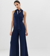 John Zack Tall tie neck wide leg jumpsuit in navy
