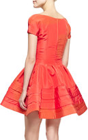 Zac Posen Short-Sleeve Faille Flare Dress, Azalea
