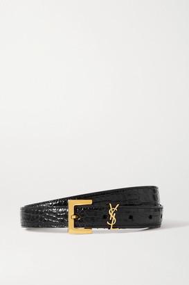 Saint Laurent Embellished Croc-effect Leather Belt - Black