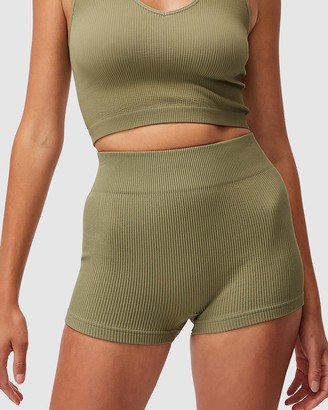 Cotton On Body Active - Women's Green Tights - Lifestyle Seamless Rib Hottie Hot Shorts - Size XS/S at The Iconic