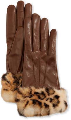 Portolano Mario Cashmere-Lined Leather Gloves w/ Mink Fur Cuffs