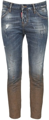 DSQUARED2 Stretch Denim Skinny Jeans W/ Mud Print