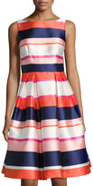 Eliza J Striped Satin Fit & Flare Dress, Pink Pattern
