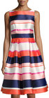 Eliza J-eliza j striped satin fit flare dress pink pattern
