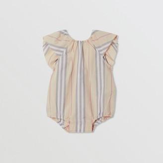 Burberry Childrens Ruffled Icon Stripe Cotton Bodysuit