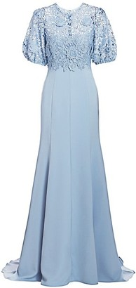 Lela Rose Floral Laser Cut Puff-Sleeve Gown