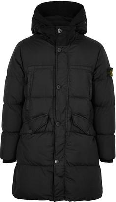 Stone Island Black quilted garment-dyed nylon jacket
