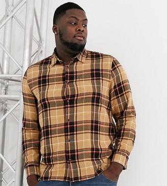 Topman Big & Tall shirt in tartan check-Stone