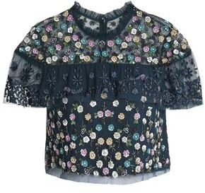 Needle & Thread Cropped Embellished Embroidered Tulle Top