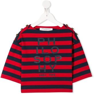 Philosophy Di Lorenzo Serafini Kids Striped Logo Print Top