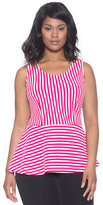 ELOQUII Plus Size Sleeveless Striped Peplum Top