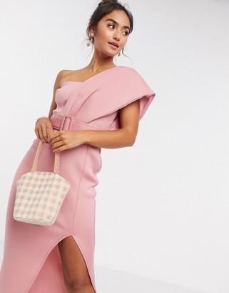 ASOS DESIGN one shoulder belted midi dress in rose pink