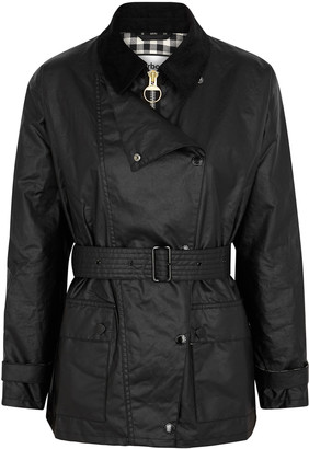 Barbour By Alexachung Agatha black waxed cotton jacket