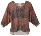 Nevada Matador Lace Back Printed Blouse