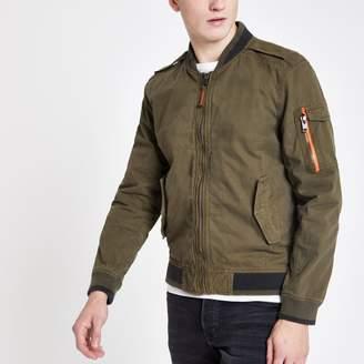 Superdry Mens River Island Khaki bomber jacket