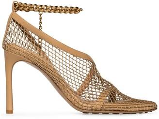 Bottega Veneta Chain-Trimmed 100mm Mesh Sandals
