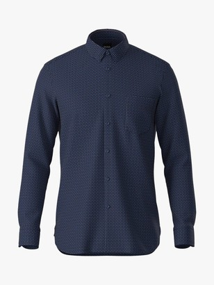 HUGO BOSS Magneton Slim Fit Long Sleeve Shirt, Dark Blue