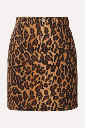 Miu Miu Appliquéd Leopard-print Denim Mini Skirt - Brown